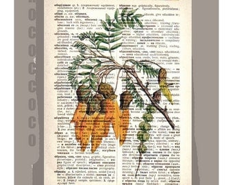 FLOWER1 Artwork on a page from vintage Dictionary -Upcycled Book Print
