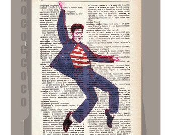 ELVIS Presley - Artwork printed on Repurposed Vintage Dictionary page -Upcycled Book Print