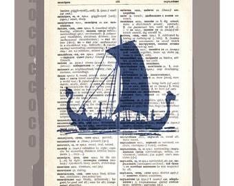 Antique Sail Boat SILHOUETTE 5 - ORIGINAL ARTWORK  printed on Repurposed Vintage Dictionary page -Upcycled Book Print