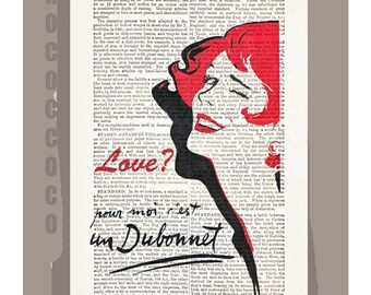LOVE  - ORIGINAL ARTWORK  printed on Repurposed Vintage Dictionary page -Upcycled Book Print