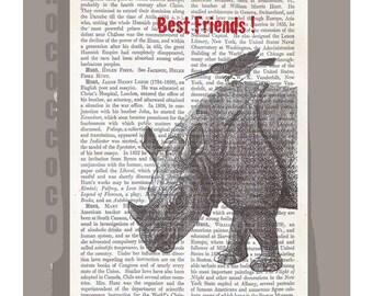 BESTFRIENDS   - ORIGINAL ARTWORK  printed on Repurposed Vintage Dictionary page -Upcycled Book Print