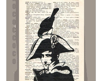 NAPOLEON Bonaparte- ORIGINAL ARTWORK  printed on Repurposed Vintage Dictionary page -Upcycled Book Print