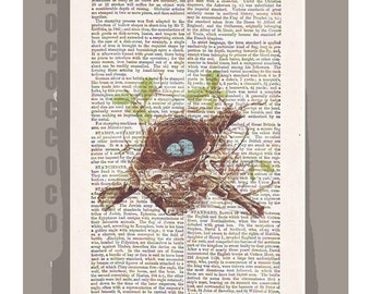 NEST1 - ARTWORK printed on Repurposed Vintage Dictionary page -Upcycled Book Print