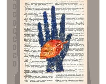 HAND with Glove and Leaf- ORIGINAL ARTWORK  printed on Repurposed Vintage Dictionary page -Upcycled Book Print