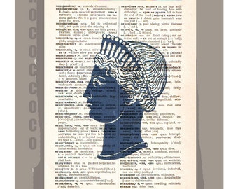 Antique Greek SILHOUETTE - ORIGINAL ARTWORK  printed on Repurposed Vintage Dictionary page -Upcycled Book Print