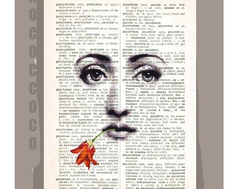 19th Century WOMAN Face with Flower- ORIGINAL ARTWORK  printed on Repurposed Vintage Dictionary page -Upcycled Book Print