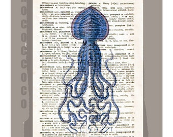 Blue SQUID -ARTWORK  printed on Repurposed Vintage Dictionary page -Upcycled Book Print