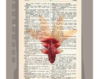 FISH of Paradise  -ARTWORK  printed on Repurposed Vintage Dictionary page -Upcycled Book Print
