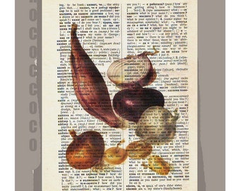 Antique French VEGETABLES/ Red ONION - Artwork on a page from vintage Dictionary -Upcycled Book Print