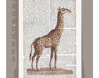 GIRAFFE -ARTWORK  printed on Repurposed Vintage Dictionary page -Upcycled Book Print