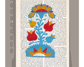 FOLK ART5- Original Artwork printed on Repurposed Vintage Dictionary page -Upcycled Book Print