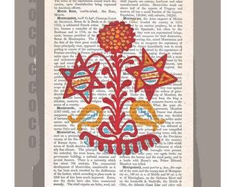 FOLK ART2 - Original Artwork printed on Repurposed Vintage Dictionary page -Upcycled Book Print