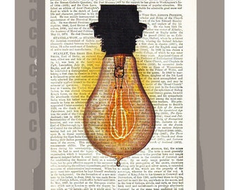 ELECTRIC Bulb - ORIGINAL ARTWORK  printed on Repurposed Vintage Dictionary page -Upcycled Book Print