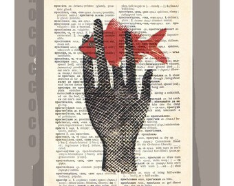 HAND with Fish - ORIGINAL ARTWORK  printed on Repurposed Vintage Dictionary page -Upcycled Book Print