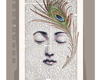 The PEACOCK Feather - ORIGINAL ARTWORK  printed on Repurposed Vintage Dictionary page -Upcycled Book Print