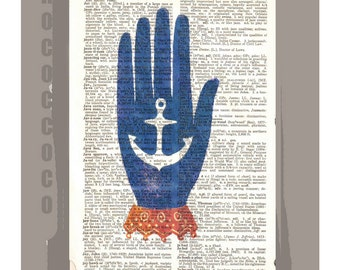 HOPE  - ORIGINAL ARTWORK printed on Repurposed Vintage Dictionary page -Upcycled Book Print