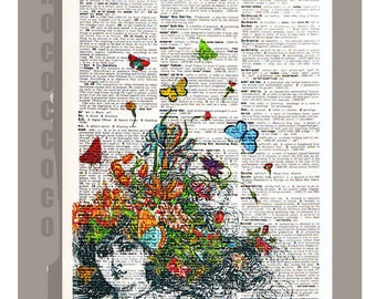 Girl with Butterflies and Flowers - ORIGINAL ARTWORK printed on Repurposed Vintage Dictionary page 8x10 -Upcycled Book Print