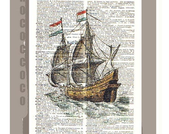 GALLEON2 Ship-ORIGINAL ARTWORK printed on Repurposed Vintage Dictionary page -Upcycled Book Print
