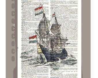 GALLEON1 Ship-ORIGINAL ARTWORK printed on Repurposed Vintage Dictionary page -Upcycled Book Print