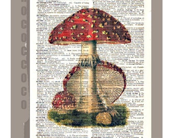 Red  MUSHROOMS Artwork on a page from vintage Dictionary -Upcycled Book Print