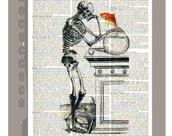 What's up - Skeleton  with Goldfish bowl  - ORIGINAL ARTWORK on Upcycled Vintage Dictionary Old Book page