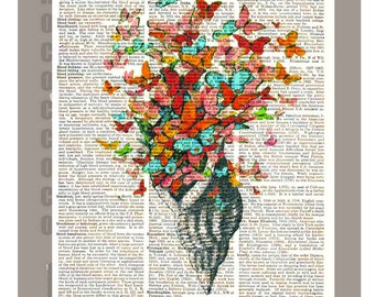Butterfly Shell - ORIGINAL ARTWORK  printed on Repurposed Vintage Dictionary page -Upcycled Book Print