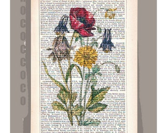 Springs Bouquet of FLOWERS Artwork on a page from vintage Dictionary -Upcycled Book Print
