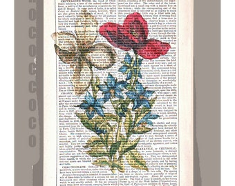 Springs Bouquet of FLOWERS2 - Artwork on a page from vintage Dictionary -Upcycled Book Print