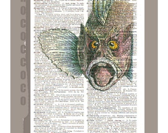 Vintage Spike Fish Portrait2 - ARTWORK printed on Repurposed Vintage Dictionary page- FREE Domestic Shipping