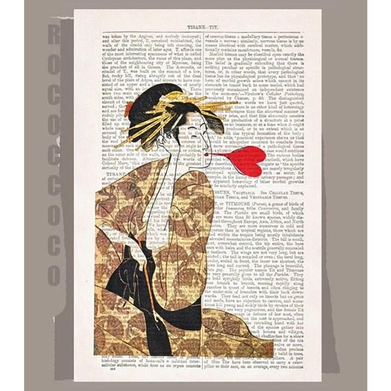 Love - ORIGINAL ARTWORK  printed on Repurposed Vintage Dictionary page -Upcycled Book Print