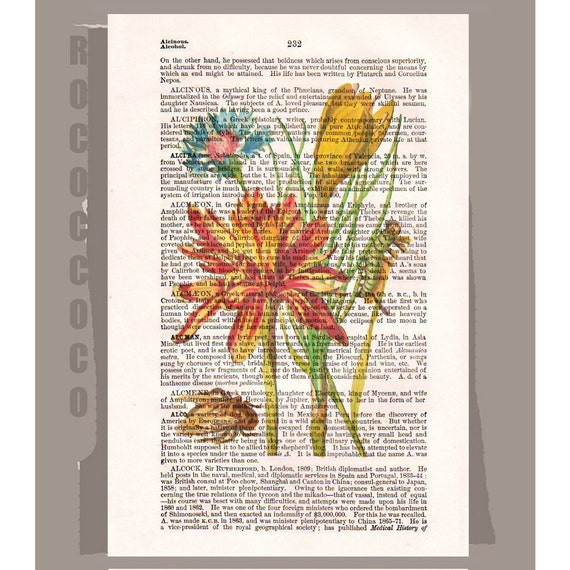 Bouquet of FLOWERS Artwork on a page from vintage Dictionary -Upcycled Book Print