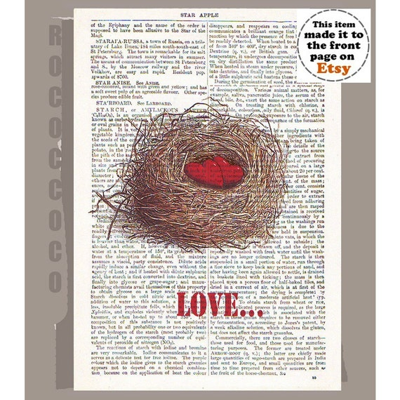 LOVE Nest - ORIGINAL ARTWORK  printed on Repurposed Vintage Dictionary page -Upcycled Book Print