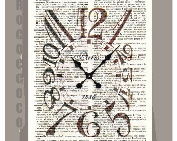 Vintage CLOCK - ORIGINAL ARTWORK  printed on Repurposed Vintage Dictionary page -Upcycled Book Print