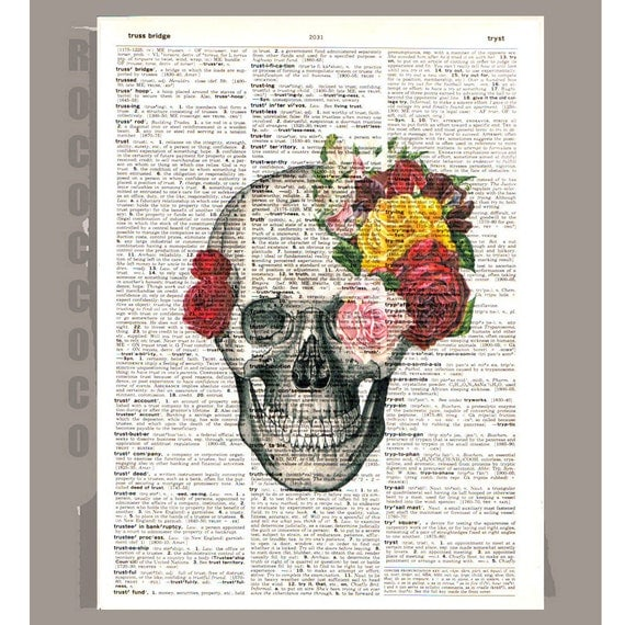 Vintage Skull and Roses -CARPE DIEM - Roses Skull Tatoo -Wall Art Book Print on Vintage Dictionary Page,wall hanging, wall decor poster art