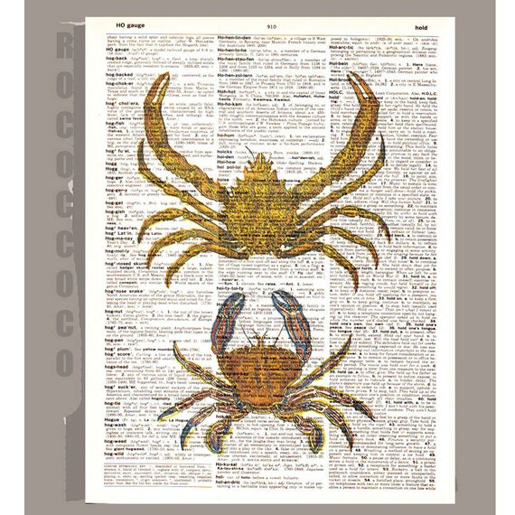 CRAB2 -ARTWORK  printed on Repurposed Vintage Dictionary page 8 x 10 -Upcycled Book Print