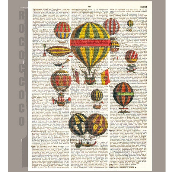 Vintage Air BALLOONS2 on a Vintage Dictionary page 8x10 -Upcycled Book Print