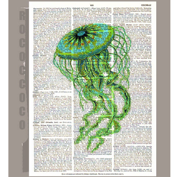 JELLYFISH  -ARTWORK  printed on Repurposed Vintage Dictionary page 8 x 10 -Upcycled Book Print