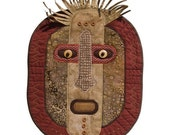 "African-Inspired Quilted Mask - Wall Hanging - HUNTER- 12"" w x 17"" h"