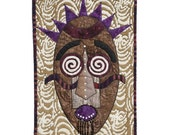 "Quilted Mask - Wall Hanging - HIGH ANXIETY-12""w x 17.5""h"