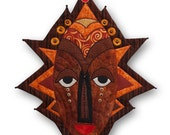 "Tribal Mask - ""African Royal""- Quilted Wall Hanging"