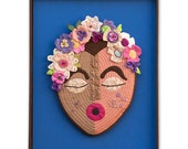 "FRIDA--Quilted Mask in Handmade Frame-16""W x 24""H x 1.75""D (overall with frame) 11"" W x 14.5"" H (quilted mask alone)"