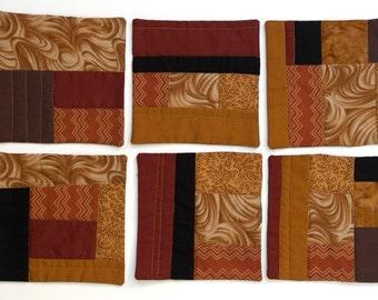 Set of 6 - Mini-Quilt Cotton Fabric Beverage Coasters