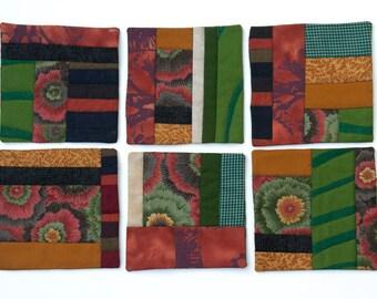 Coasters - Mini-Quilt Cotton Fabric Beverage Coasters - Set of 6