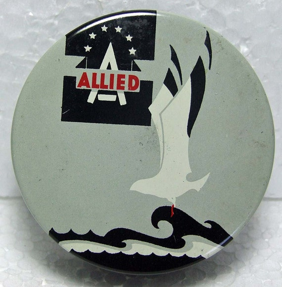 Rare 1950s Allied Typewriter Ribbon Tin Container Seagull Bird Art Deco Style