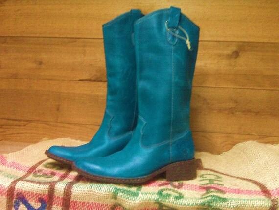 "Vintage Born ""Deep Turqoise"" Teal/Blue Cowboy Boots"