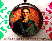 Frida Kahlo Glass Pendant & FREE Wire Necklace- 1 Inch -Print of Original Mixed Media Art by Laura Gómez