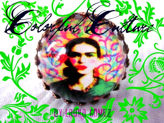 "Ring- ""Frida Kahlo"" - Print / Reproduction from Original Painting by ColorFul Culture (Private Collection)-ADJUSTABLE"