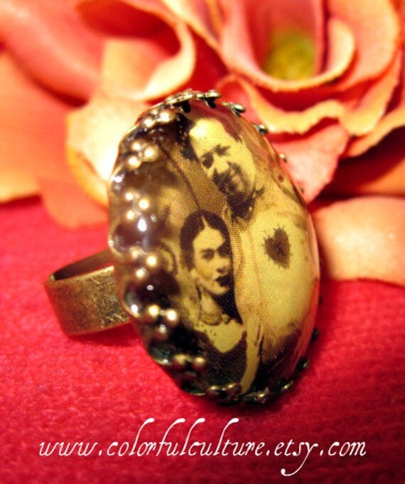 Antique Adjustable Ring-Frida Y Diego,Un Amor a la Mexicana in Sepia-Small Print form Original Art by ColorFul Culture(Private Collection)