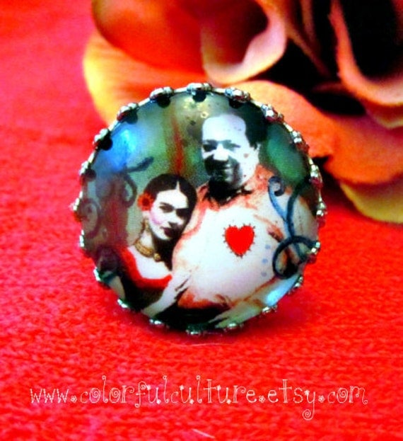 Adjustable Ring-Frida Y Diego, Un Amor a la Mexicana -Small Print form Original Painting by ColorFul Culture (Private Collection)