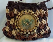 Autumn Brown handbag, woven, tan, glass covered flower arrangement on top, vintage hardware and beads LAYAWAY PLANS - HopscotchCouture